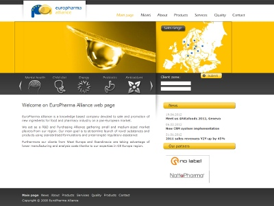 Website preview of EuroPharma Alliance